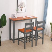 WestWood Bar Table and 2 Stools Set WW-BTS02 Grey and Honey
