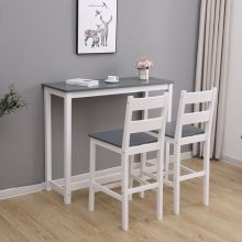 WestWood Bar Table and 2 Stools Set WW-BTS02 White and Grey