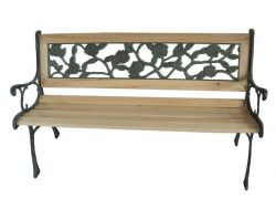 BIRCHTREE Outdoor Wooden 3 Seater Rose Style Garden Bench