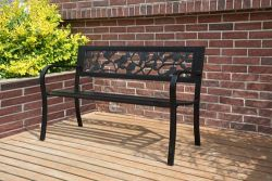 BIRCHTREE Garden Bench Steel Rose Style C074 Black