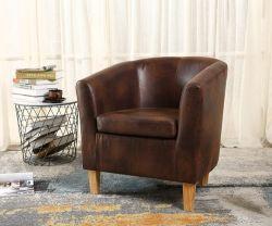 WestWood Faux Leather Tub Armchair Vintage Brown