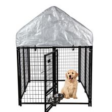 FoxHunter Metal Dog Kennel with Canopy Cover FH-DK01 Black