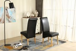 WestWood Faux Leather Dining Chairs High Back Set of 2 Black