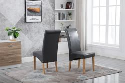 WestWood Faux Leather Dining Chairs High Back Set of 2 Grey