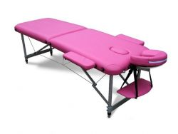 WestWood Massage Table Beauty Couch Bed Folded 2 Section Aluminium Frame Pink