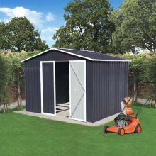 BIRCHTREE Garden Shed Metal Apex Roof 8FT X 6FT Anthracite White