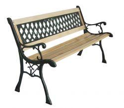 BIRCHTREE Outdoor Wooden 3 Seater Cross Lattice Garden Bench