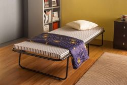WestWood Metal Folding Bed With Mattress MFB-01 Black White Stripe