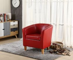 WestWood Faux Leather Tub Armchair Red