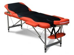 WestWood Luxury Massage Table Couch Bed Folded 3 Section Aluminium Frame Black Orange