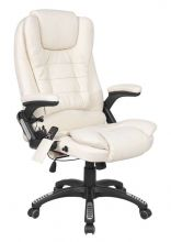 WestWood Leather 6 Point Massage Office Chair Cream