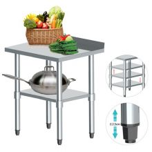WestWood Stainless Steel Catering Table With Backsplash 2FT X 2FT