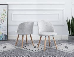 WestWood Crush Velvet Dining Chair DCF08 1 Pair Cream