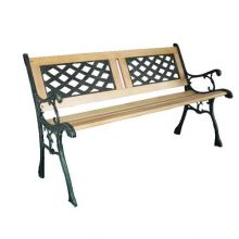 BIRCHTREE Outdoor Wooden 3 Seater Cross Lattice and Slat Style Garden Bench