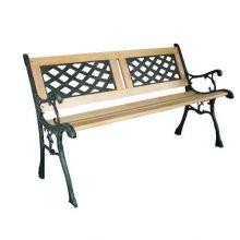 BIRCHTREE Outdoor Wooden 3 Seater Cross Lattice and Slat Style Garden Bench