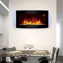 HEATSURE Wall Mounted Electric Fireplace Remote Control LED 7 Color Backlit 2KW EF831B