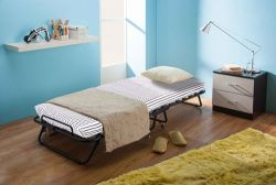 WestWood Metal Folding Bed With Mattress MFB-02 Black White Stripe