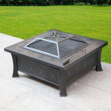 HEATSURE Outdoor Fire Pit Square HS-FP-09 Black