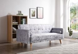 WestWood Fabric Sofa Bed Velvet Grey FSB04