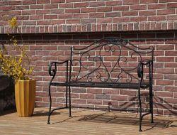 BIRCHTREE Metal Garden Bench MGB02 Black