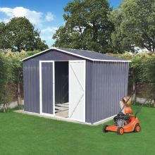 BIRCHTREE Garden Shed Metal Apex Roof 8FT X 6FT Grey White