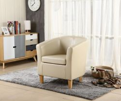 WestWood Faux Leather Tub Armchair Ivory