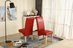 WestWood Faux Leather Dining Chairs High Back Set of 2 Red