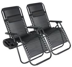 BIRCHTREE Sun Recliner Set of 2 With Cup Holder BT-SR03 Black