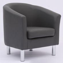 WestWood PU Tub Chair With Chrome Leg Grey