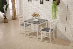 WestWood Dining Table With 2 Chair Wood DS09 Grey