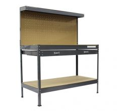 SwitZer Steel Garage Workbench With Drawers Pegboard Grey