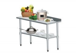WestWood Stainless Steel Catering Table With Backsplash 2FT X 5FT