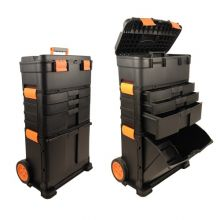 WestWood 3 Compartments Chest Trolley Cart Storage Plastic Toolbox Black and Orange