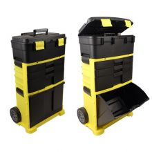 WestWood 3 Compartments Chest Trolley Cart Storage Plastic Toolbox Black and Yellow