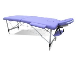 Massage Table Beauty Couch Bed Folded 2 Section Aluminium Frame Purple