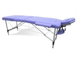 Massage Table Beauty Couch Bed Folded 3 Section Aluminium Frame Purple