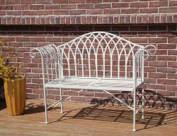 BIRCHTREE Metal Garden Bench MGB03 White