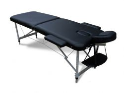 WestWood Massage Table Beauty Couch Bed Folded 2 Section Aluminium Frame Black