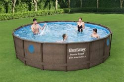 "BestWay Power Steel Frame Swimming Pool Set Round Rattan Vista 16' x 48"" 56725"