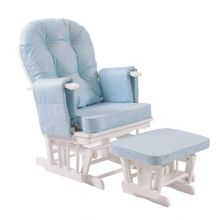 WestWood Nursing Chair With Stool White Frame Blue