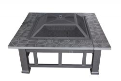 HEATSURE Outdoor Steel Fire Pit Brazier Square Black 32""