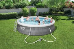 "BestWay 15' x 42"" Swimming Pool Set Round Rattan Print 57372"