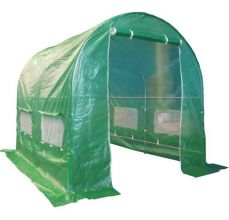 BIRCHTREE 2.5M (L) x 2M (W) x 2M (H) Polytunnel Greenhouse Pollytunnel Galvanised Frame