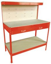 SwitZer Steel Garage Workbench With Drawers Pegboard Red