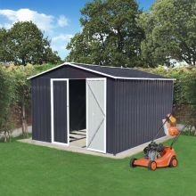 BIRCHTREE Garden Shed Metal Apex Roof 10FT X 8FT Anthracite and White