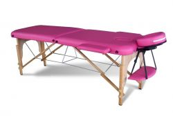 Massage Table Beauty Couch Bed Folded 2 Section Wooden Frame Pink