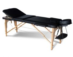 Massage Table Beauty Couch Bed Folded 3 Section Wooden Frame Black